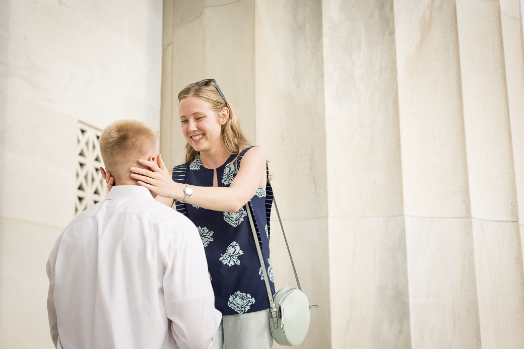 Joshua Llewellyn proposes to his girlfriend Nicolette Fedorov at the Lincoln Memorial in Washington, DC, June 26, 2015.