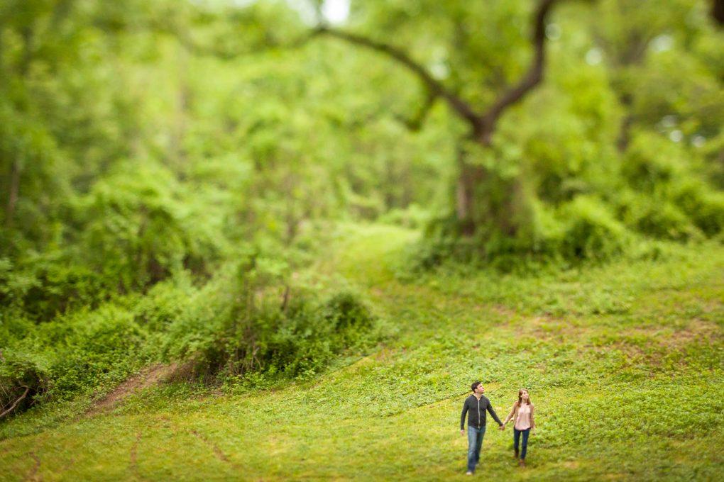 magical tilt shift forest couple portrait