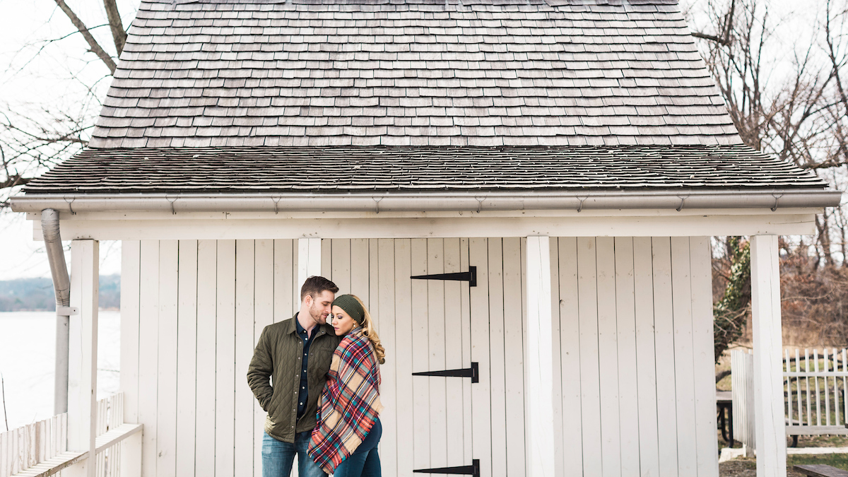 cozy lighthouse engagement photos