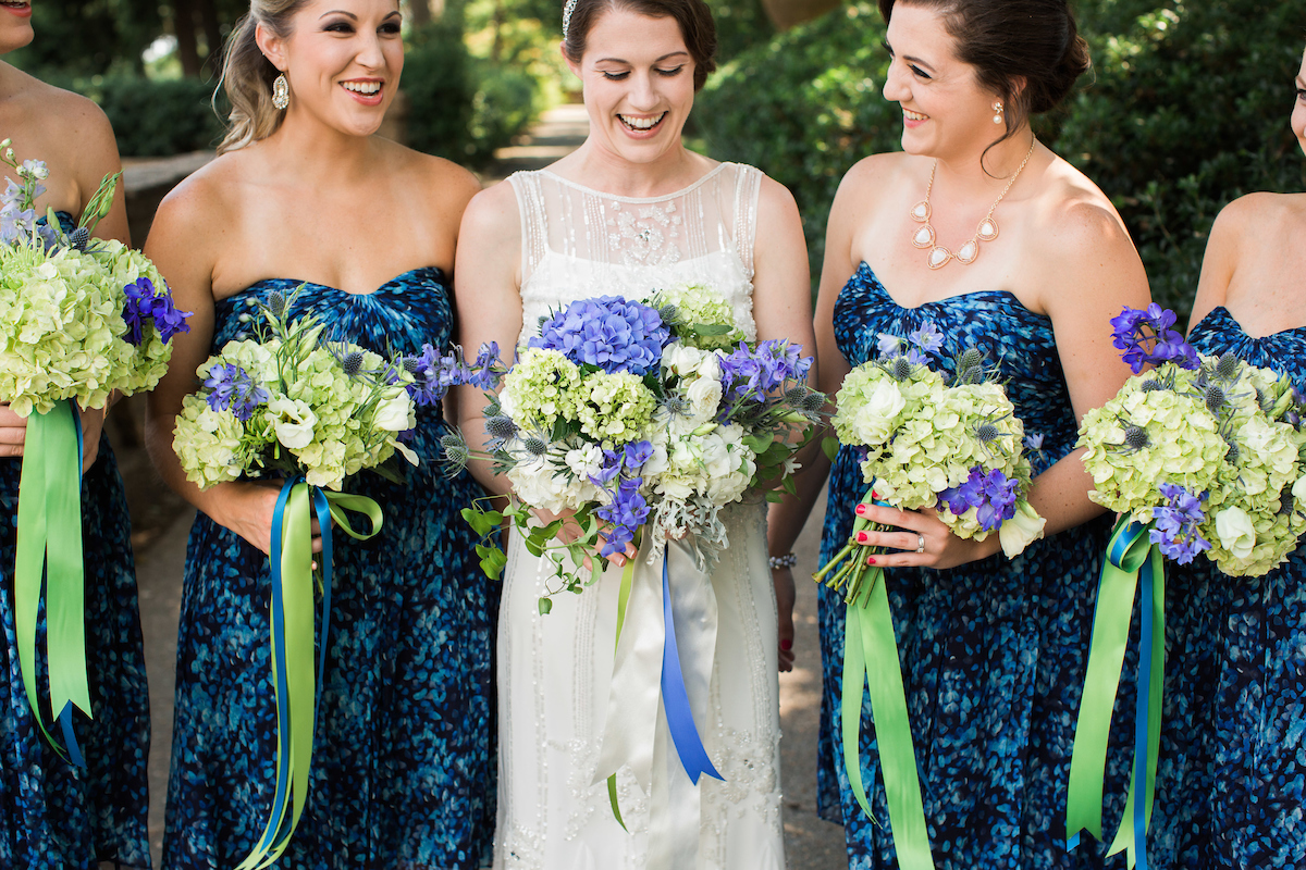 bridesmaids flowers blue green jcrew