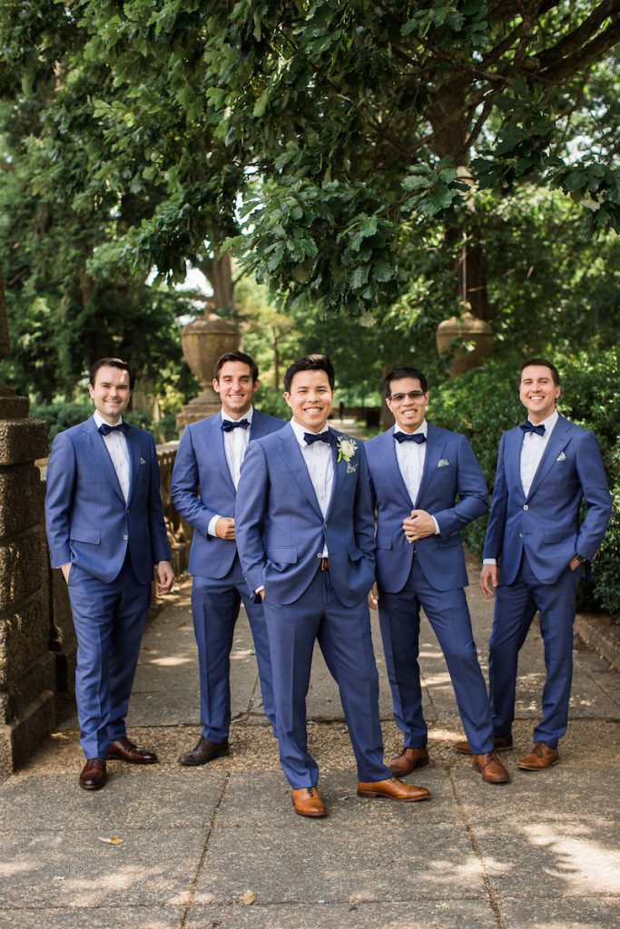 blue suit groomsmen summer