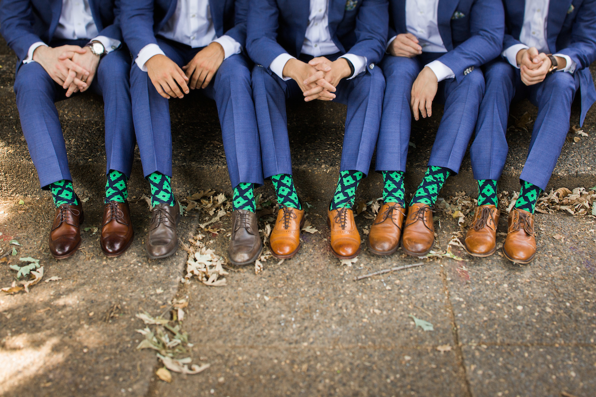 quirky groomsmen details socks shoes