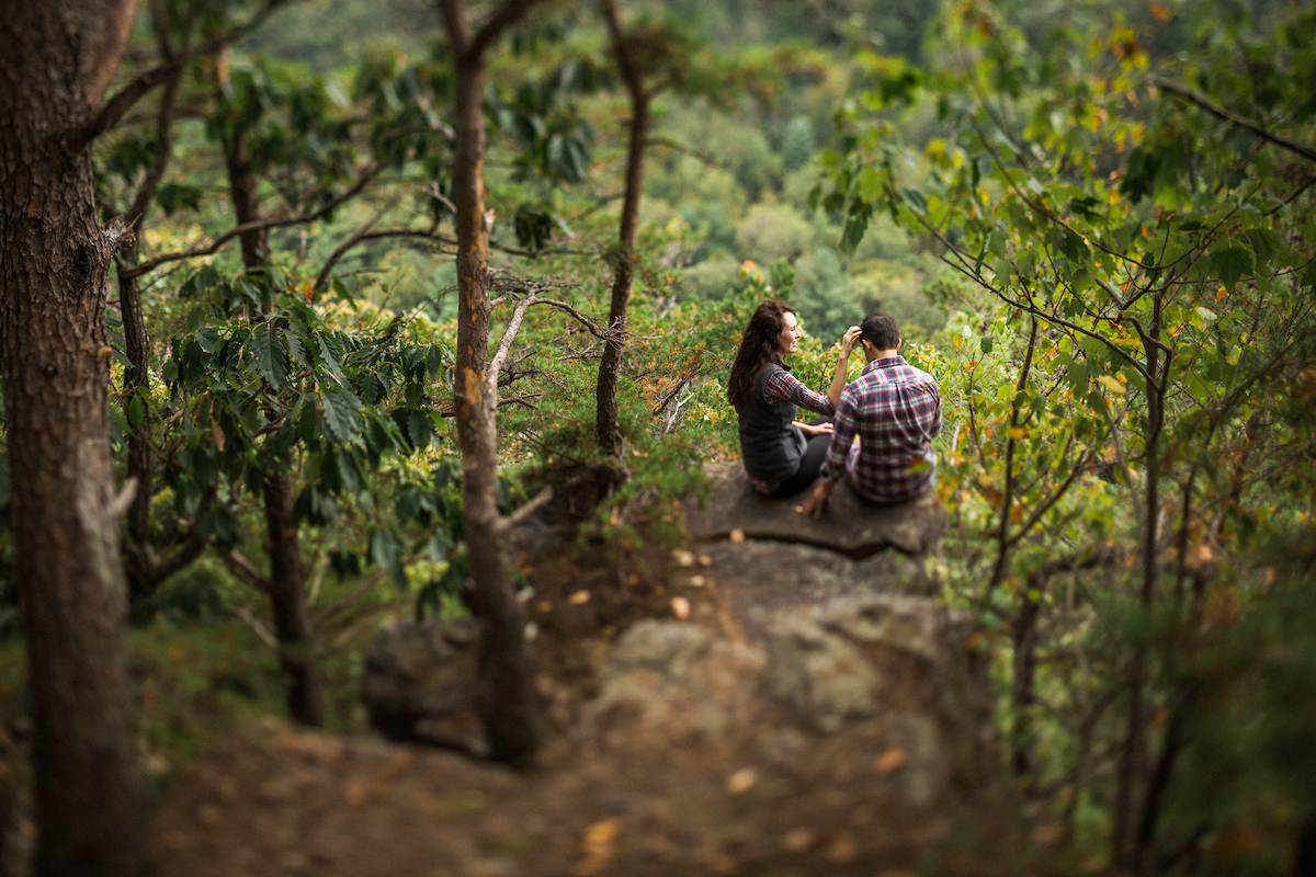 adventurous mountain overlook engagement