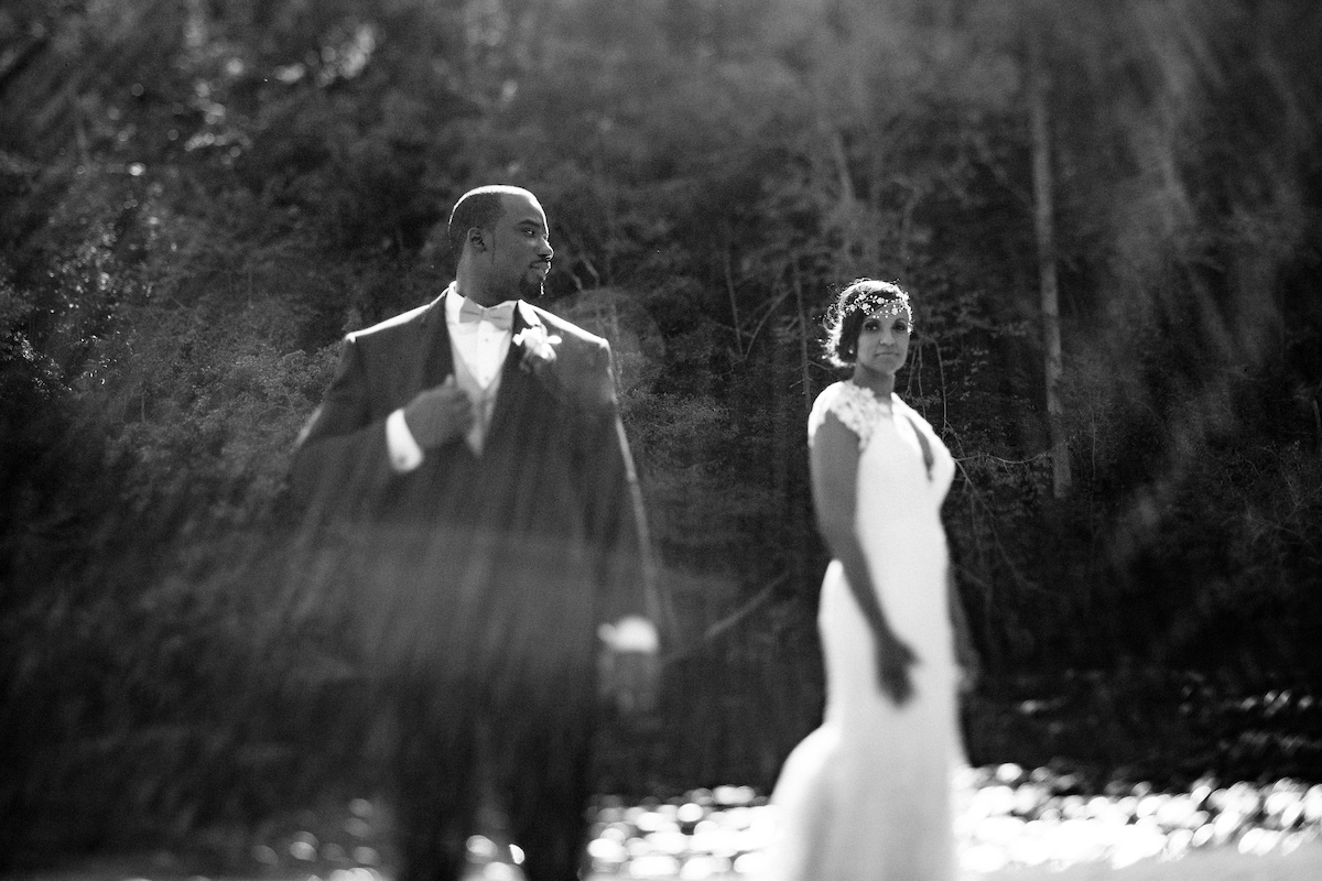 sunflare tilt-shift wedding portrait