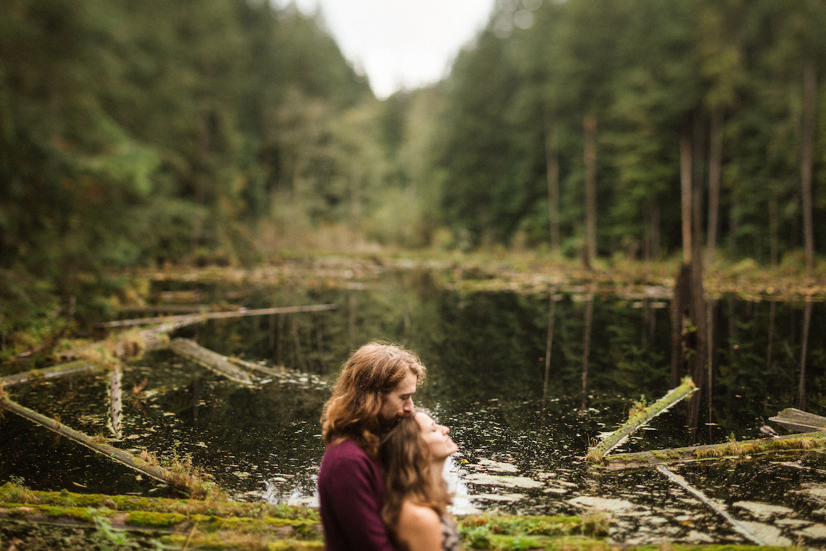 Katy and Dave's forest engagement session at the Redmond Watershed Preserve in Redmond, Washington October 16, 2016.