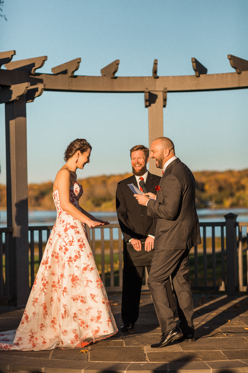 excited groom wedding ceremony vows