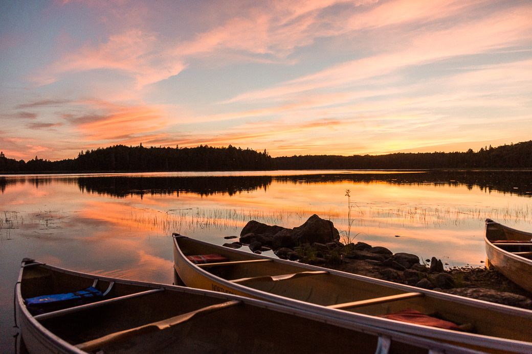 sunset canoes lake canada adventure