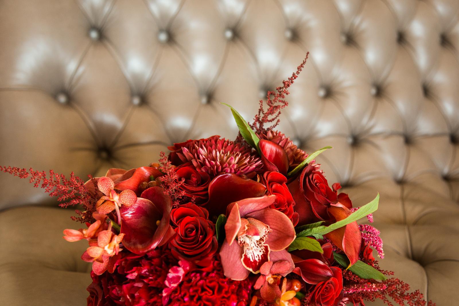 deep red orchid rose unique bouquet