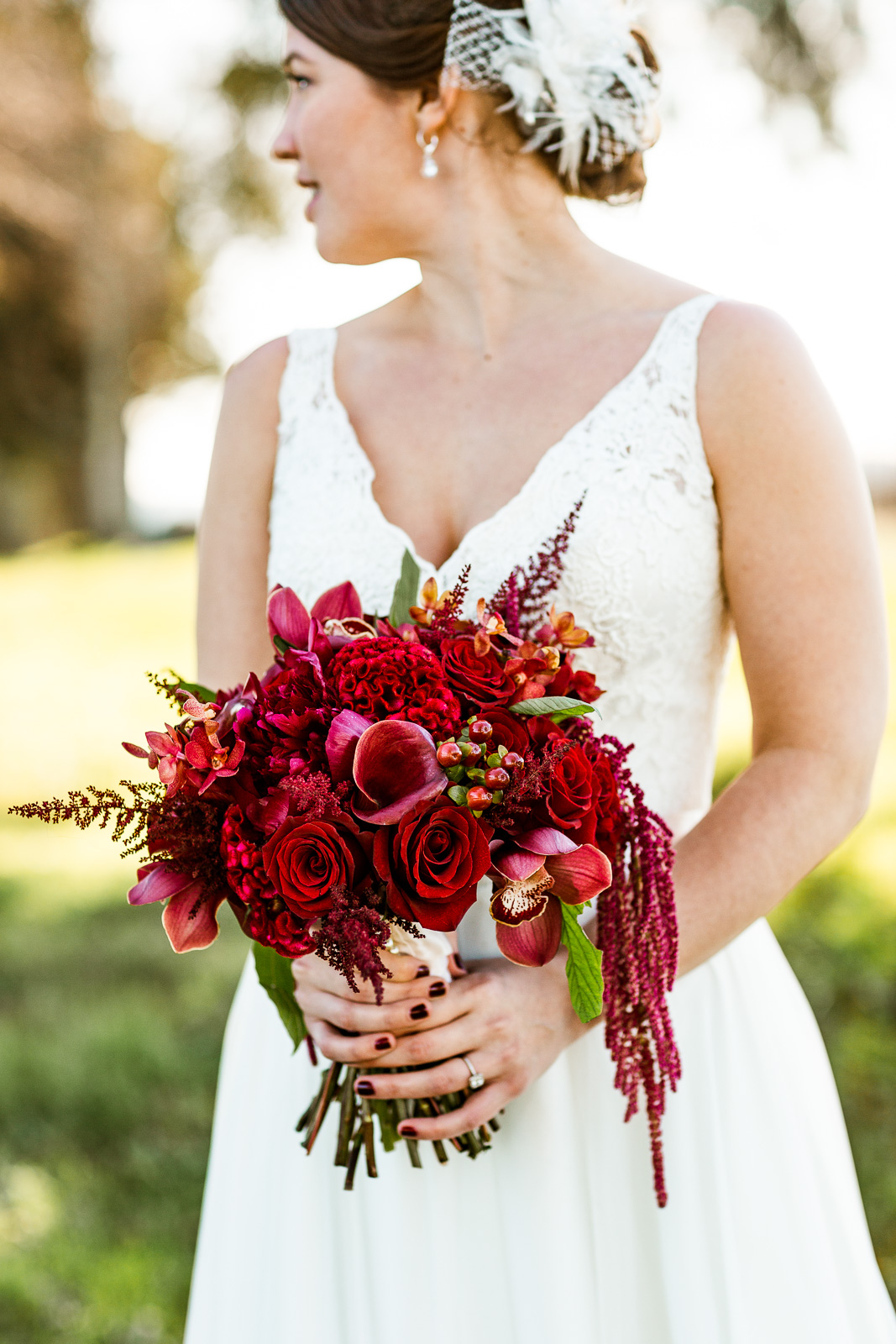 deep red romantic bridal bouquet