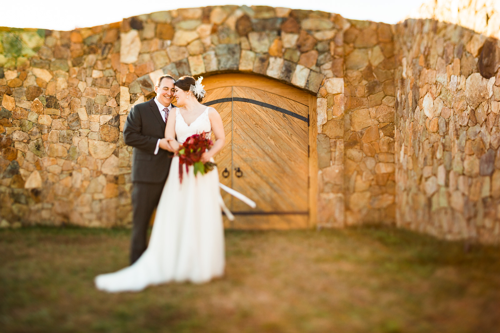 romantic windblown couple portrait winery wedding