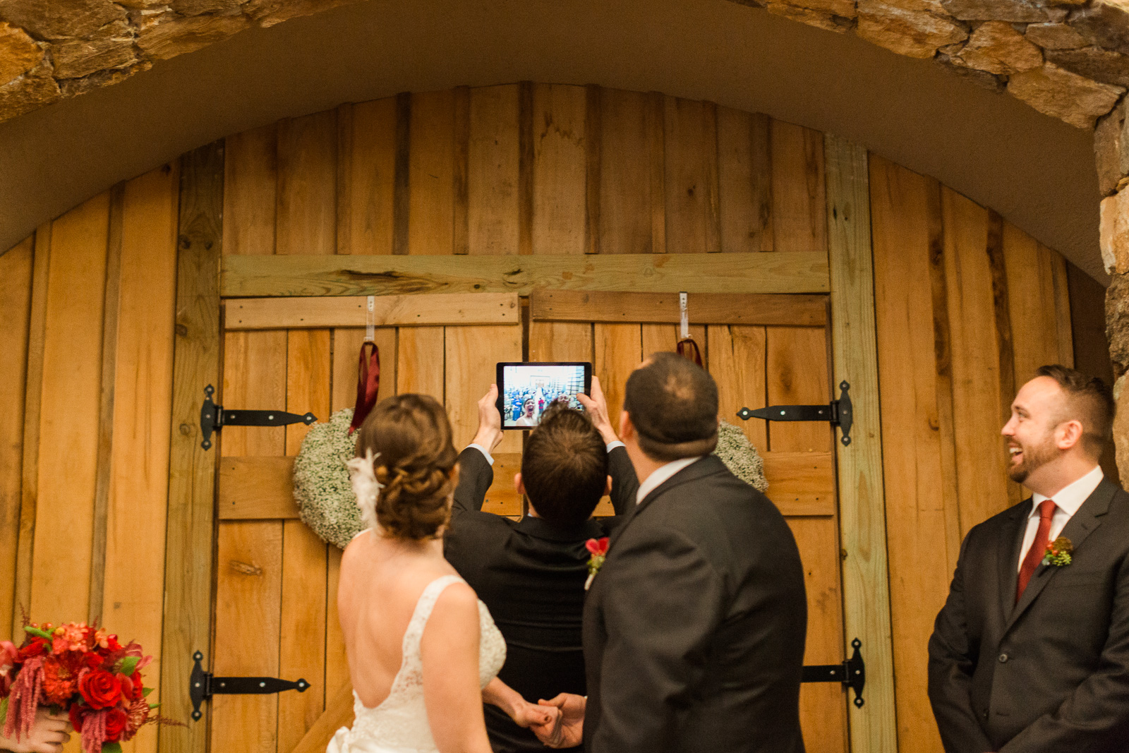 ceremony selfie wedding technology winery brother officiant family