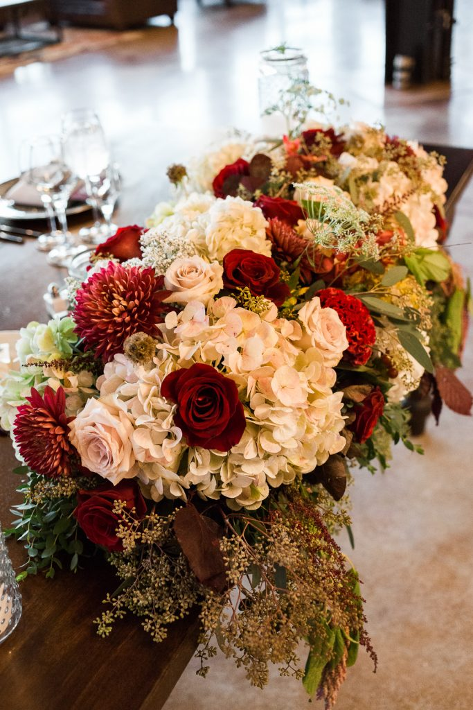floral arrangement sweetheart table