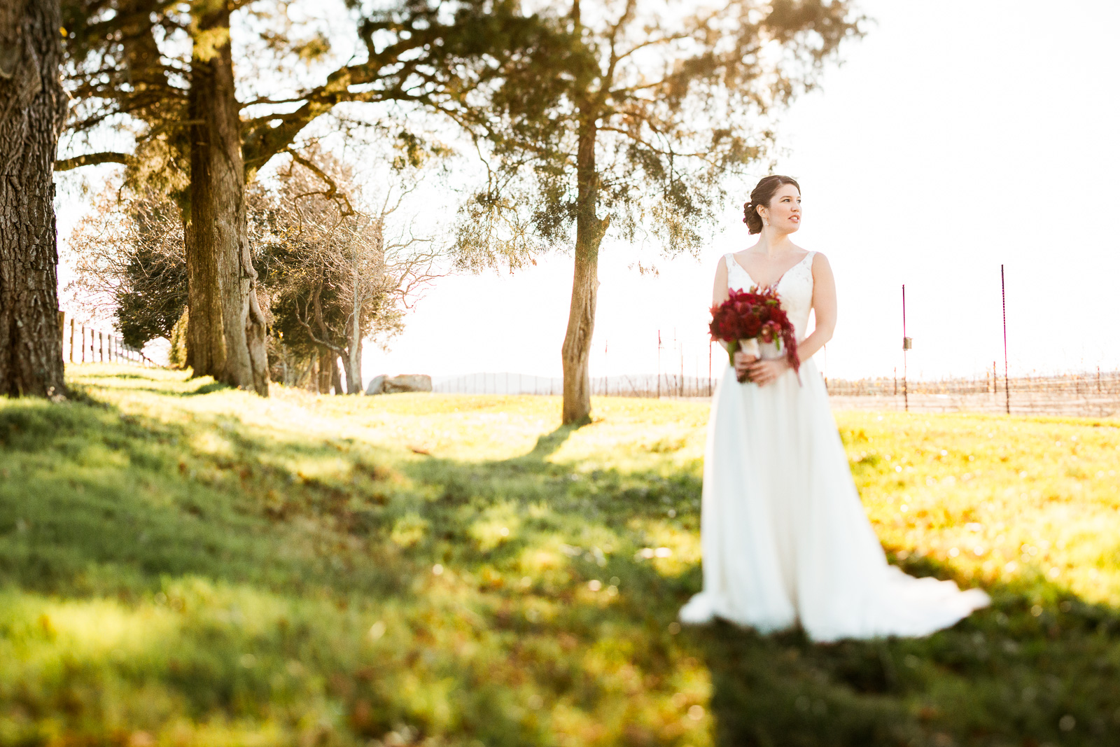 dreamy warm fall wedding winery bride
