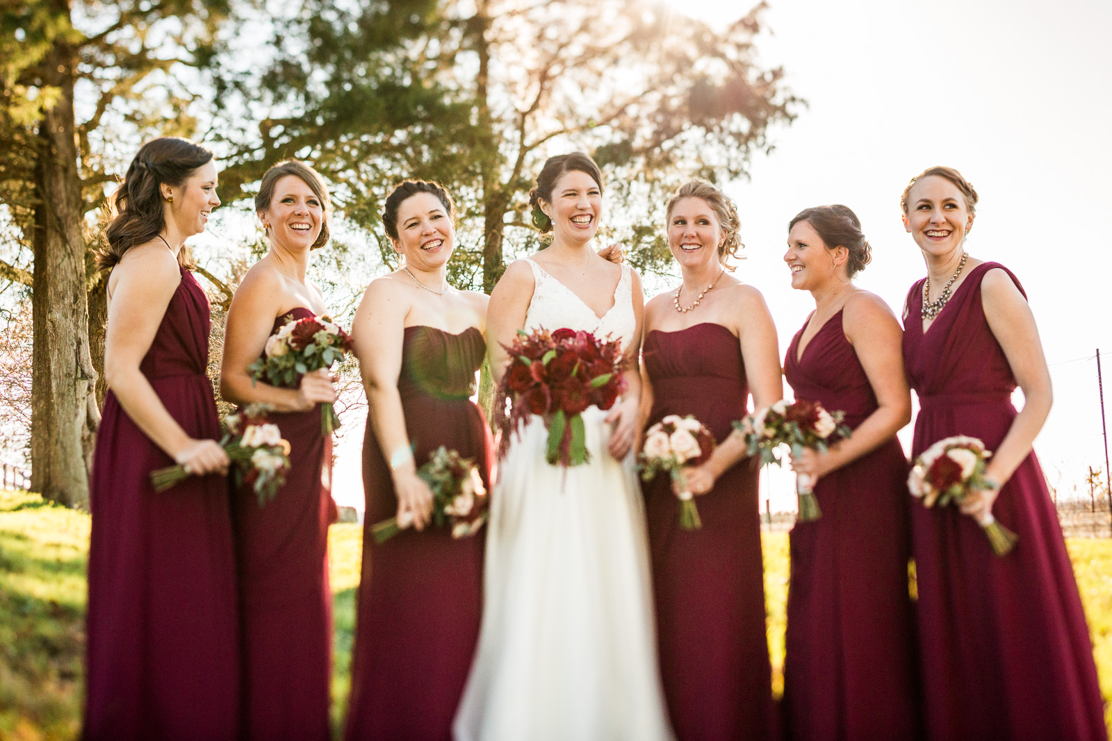wine colored bridesmaid dresses winery wedding romantic outdoors