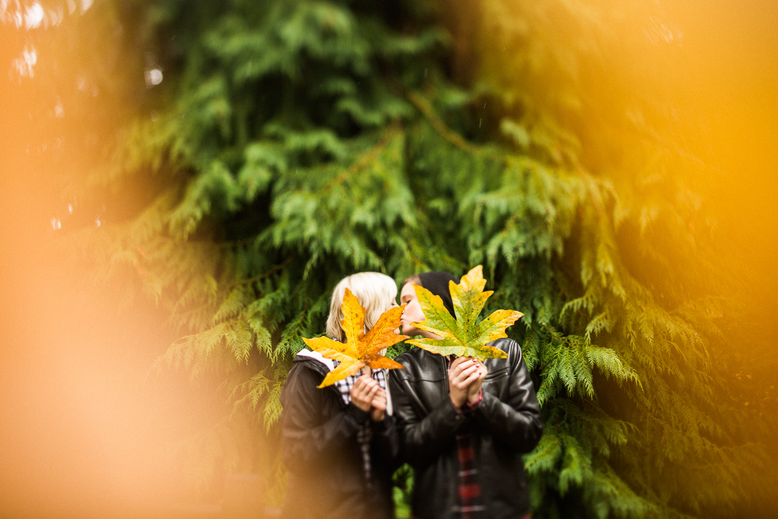 colorful seattle forest engagement photos