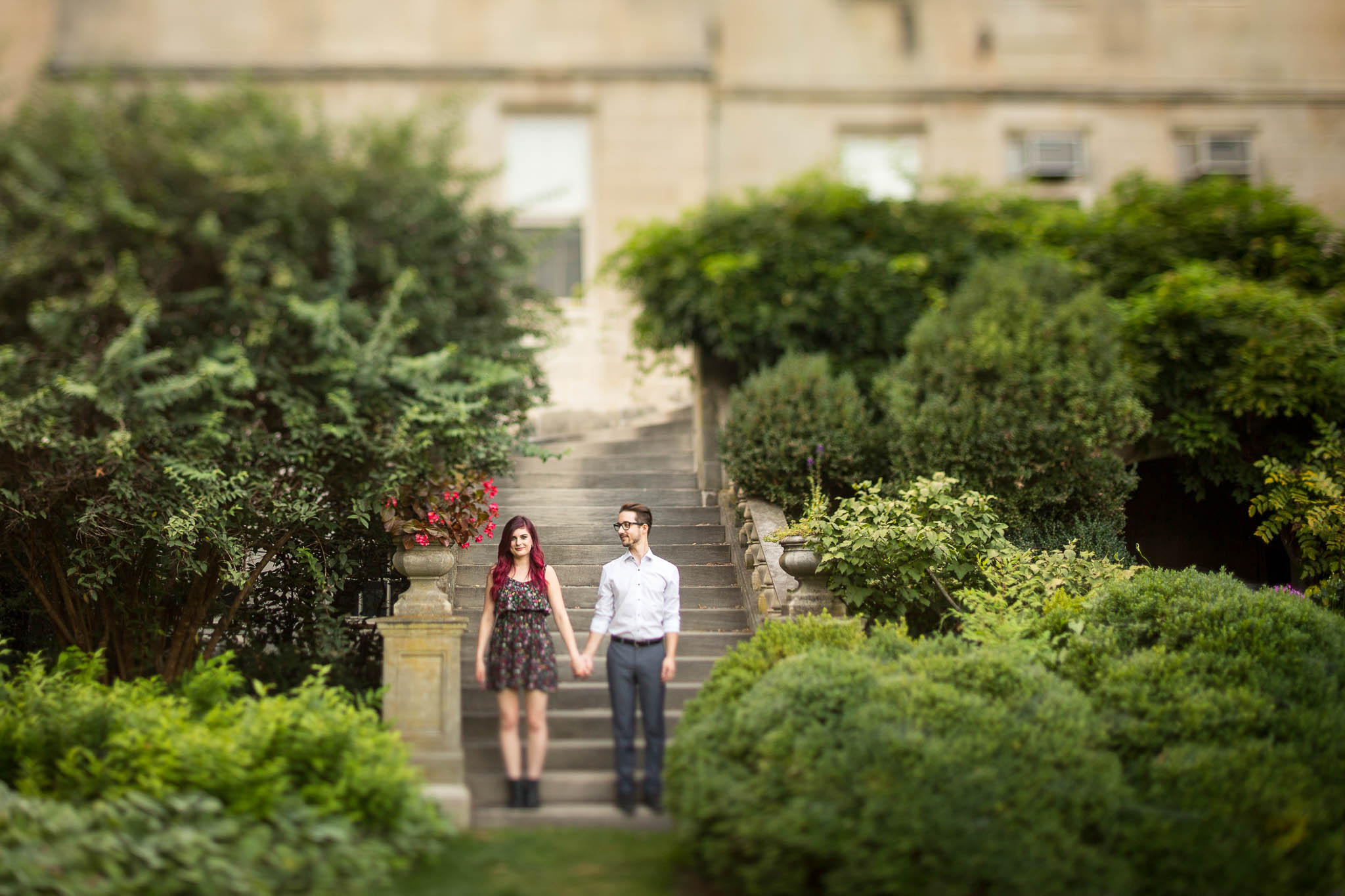 romantic english garden couple portrait
