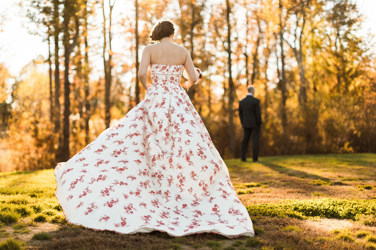 red lace unique wedding dress stylish personality