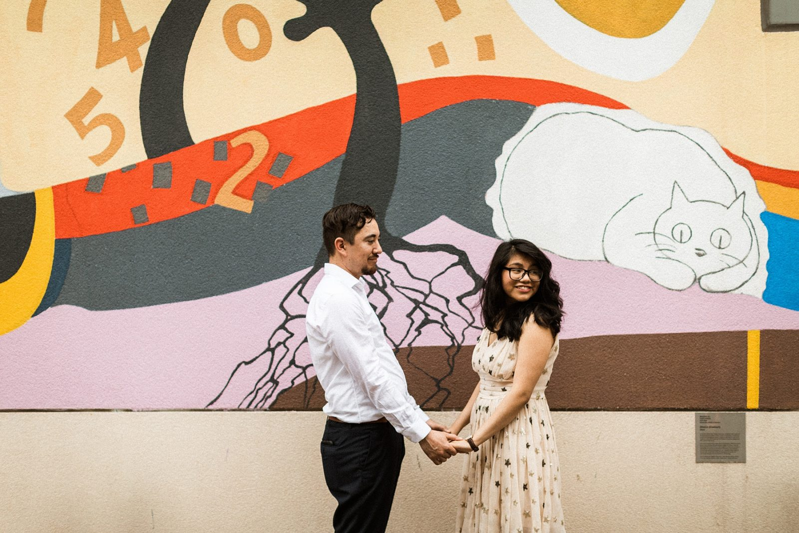 art gallery mural marriage proposal